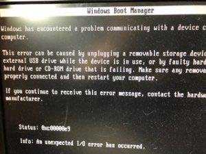 Windows Boot Manager I/O error Windows10 起動しない 横浜市港南区 横浜市戸塚区 横浜市金沢区